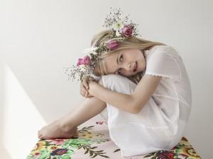 Fotoshoot met bloemenkrans